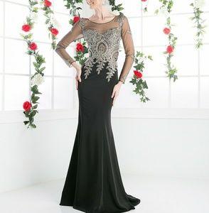 Long sleeve formal evening party black dress